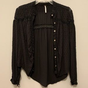 Free People Black Blouse Button Down Long Sleeve